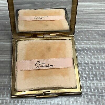 Vintage Elgin American Powder Compact Art Deco Square Gold Tone Vanity Props