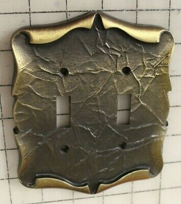 Vintage Amerock Carriage House Brass Double Switch Plate Cover VGC w/ Screws