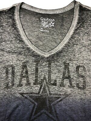 Dallas Cowboys Women's / V Neck Short Sleeve / Black/Navy / Cotton NWT Reg $32