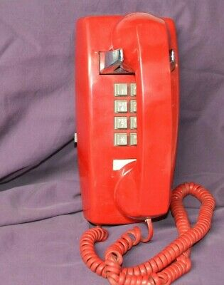 Vintage Itt Red Wall Mount Telephone Push Button Phone 1979