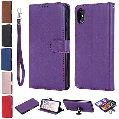 For iPhone 6 7 8 Plus XR XS 11 Pro Max Leather Wallet Removable Case Stand Cover