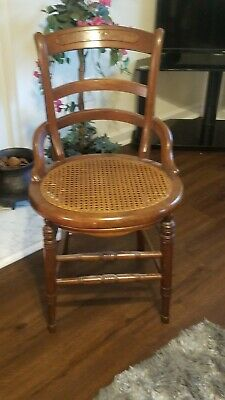 Magnificent Vintage Carved Wood Cane Seat Small Side Accent Chair 2 Tier Ncnpc Chair Design For Home Ncnpcorg