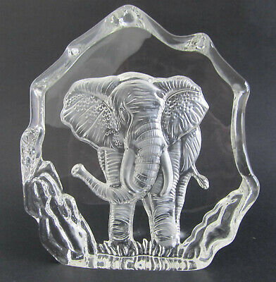 Elephant 3-D Crystal Block-Sculpture approx 16cm H Boxed