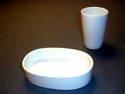 $50 White Ceramic Bathroom Tumbler & Soap Dish Set.  Mint Condition!