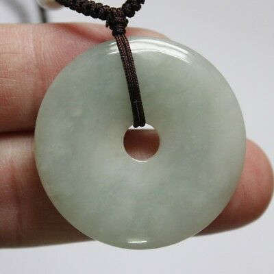 "Gemstone 100% Natural Jade ""Grade A"" Beautiful Light Green Jadeite Donut Pendant"