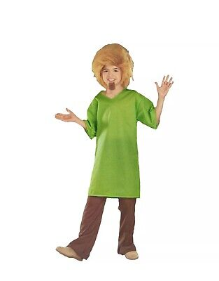 Scooby-Doo Shaggy Child's Costume Wig Goatee Shirt Size Small 4-6 Years Old