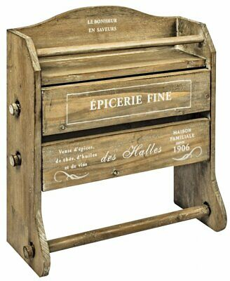 French Style Epicerie Wall Mounting Wooden Shelf Kitchen Paper Roll Foil Rack
