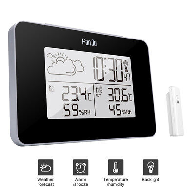 Wireless Weather Station Digital Clock Humidity Outdoor Thermometer Senso   qx