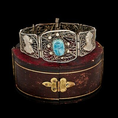 Antique Vintage Art Deco Sterling 800 Silver Egyptian Faience Filigree Bracelet