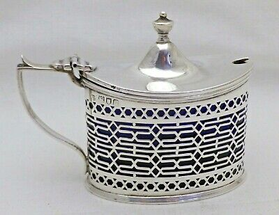 Large Antique Solid Sterling Silver Mustard Pot - Blue Liner London 1903