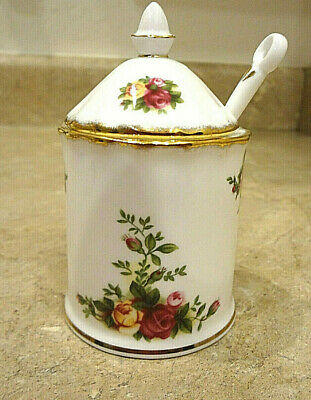 Royal Albert ~ Old Country Roses ~ Jam, Jelly, Honey Jar with Lid and Spoon