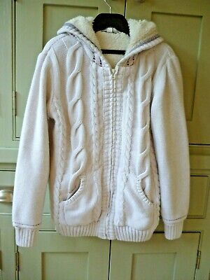 Fat Face age 10-11 girls teddy lined zip through cardigan hoody excellent cond