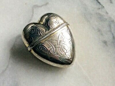 Antique Victorian Silver plated heart shaped aesthetic period keepsake box/vesta