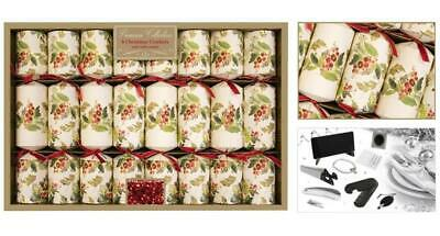 8 Premium Christmas Crackers, Holly Berries Design - RSW