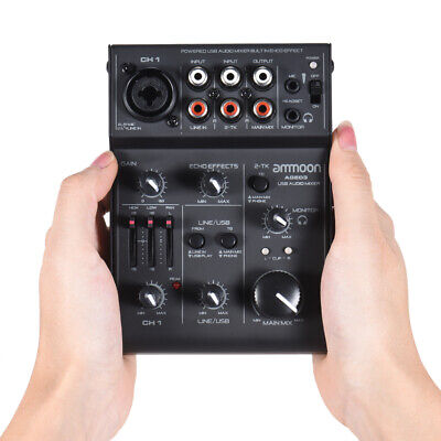 ammoon AGE03 5-Channel Mini Mic-Line Mixing Console Mixer with USB Audio R3J4