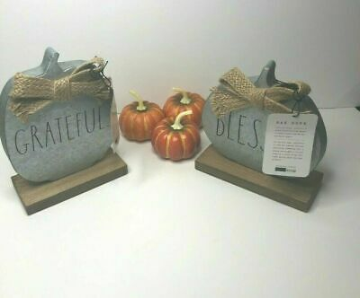 Rae Dunn Metal Rustic Pumpkins Grateful Blessed Set Of 2 Fall Thanksgiving New