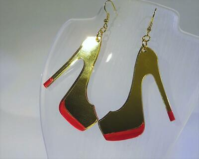 FREE UK P/&P CG2861...GOLD ACRYLIC EARRINGS WITH PALM TREES