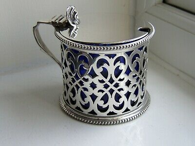 Vintage Barker Brothers Silver Plate Mustard Pot - With Blue Glass Liner