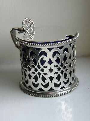 Vintage Barker Brothers Silver Plate Mustard Pot With Chipped Blue Glass Liner