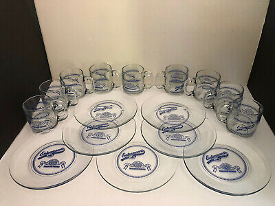 Lot of 16 Entenmann's Maxwell House Glass Advertising 100-Year Plates, Cups Mugs