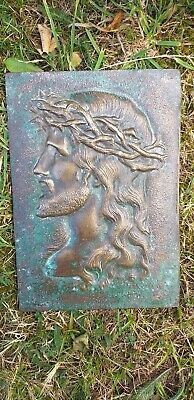 Antique French Solid Bronze Jesus Christ Wall Hanging Plaque - Maker Marked