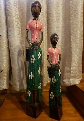 Wooden hand carved Women's Figure set of 2.