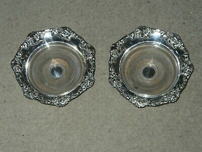 Wine Bottle / Decanter Coasters - Silver Plate & Wooden Base - Vintage - Pair