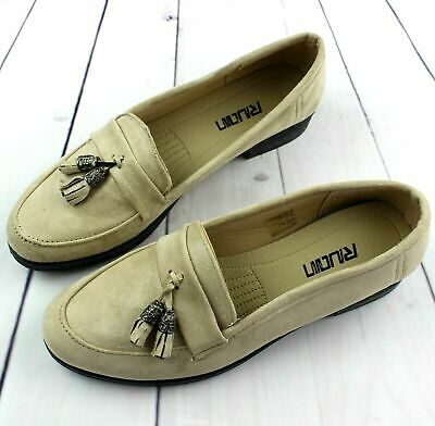 Womens Ladies Beige Loafers Brogue Slip On Flats Work Office School Shoes Size