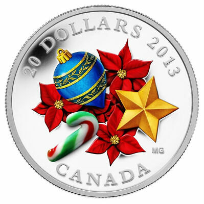 Canada 2013 $20 Venetian Glass Candy Cane in Murano Glass Pure Silver Coin