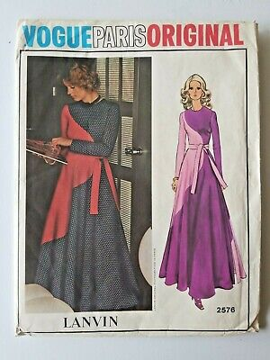 Vogue Paris Original Lanvin 2576 Size 12 Dress Gown Uncut Vintage