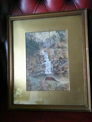 Vintage water colour of waterfall (possibly Lake district) - R.A. Almack