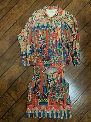 Vintage Howard Wolf Ladies 2-Piece Ancient Egyptian/ Indian Long Sleeve Shirt
