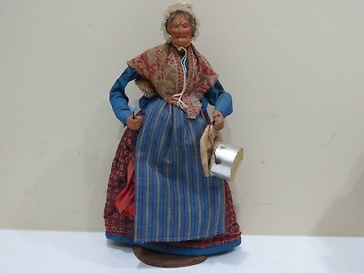 VINTAGE FRENCH JOUGLAS FOLK ART CLAY DOLL, Old Lady