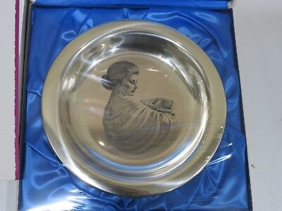 Mother and Child 1972 Franklin Mint Sterling Silver Plate By Irene Spencer