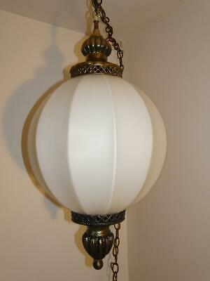 Mid Century Hollywood Regency White Globed and Brass Swag Lamp