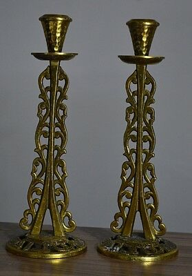 Antiques Jewish Old and rare Candlestick with Hebrew inscriptions handmade