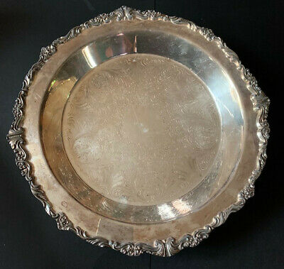 "Vintage Silver Plated 12.5"" Bowl w/ornate trim/etched center/4 feet~REALLY NICE!"