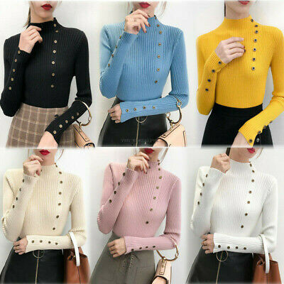 Autumn Winter Women Mock Neck Buttons Knit Top Slim Fit Stretch Pullover Sweater