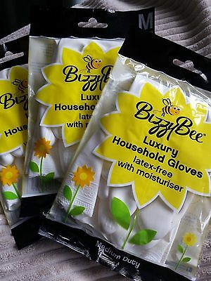 Bizzybee Gloves x 12 Luxury Latex-Free  (M size 8) Washing Up Kitchen Household