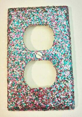 Turquoise Silver Pink Glitter Bling Light Switch Plates & Outlet Covers ~Unicorn