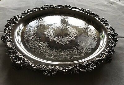 """Wilcox International Silver Co. 16"""" Antique Silver Tray / Serving Platter #3415"""