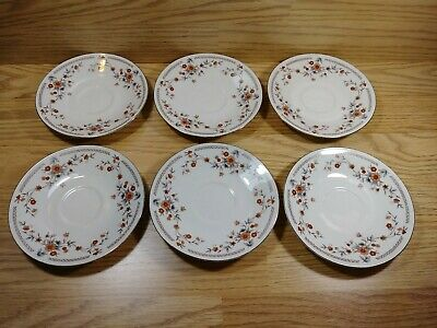 Lot of 6 Dynasty Fine China Elegant Dinner Plates Multi-Colored With Flowers