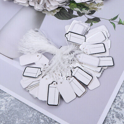 500pcs Store Jewellery Paper String Swing Price Tags Label 25x15mm White Border