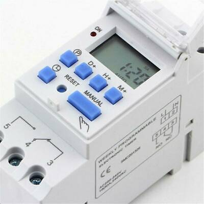 Digital LCD DIN Programmable Weekly Rail Timer AC 110/220V 16A Time Relay Switch
