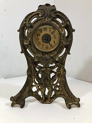 Antique 1906 Brass Cast Mantle Wind-Up Clock with Figure The Western Clock Mfg.