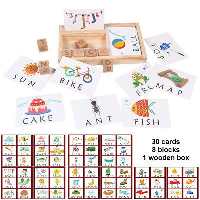 3-in-1 Baby Spelling Learning Game Wooden English Spelling Words Enlightenment