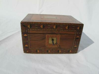 Sweet Small Antique Parquetry Inlaid Work / Trinket / Knick Knack Box With Key