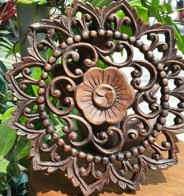 "12"" Thai Carved Teak Wood Ceiling Wall Decor Panel Flower Wall Art Brown Vintage"