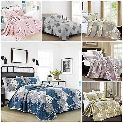 Patchwork Quilted Comfy Bedspread Super King Size Bedding Set Embroidered Throws