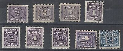 Canada Early Collection Of 9 Postage Dues MH/FU J7007